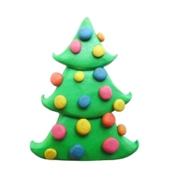 Icon of plasticine Christmas tree vector image vector image