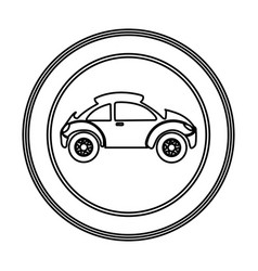 Round emblem side sport car icon vector