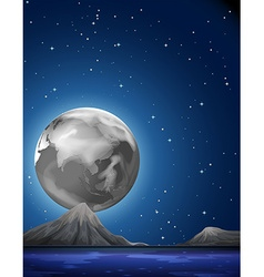 Scene with fullmoon over the sea vector