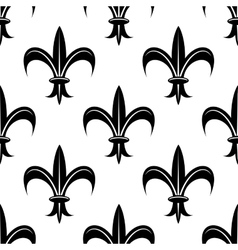 Seamless fleur-de-lis royal black pattern vector image
