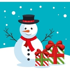 snowman box gifts snow design vector image vector image