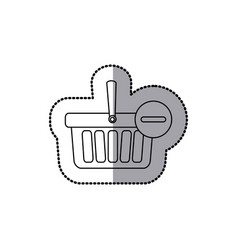 Sticker silhouette with shopping basket with minus vector