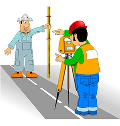surveyor and assistant vector image