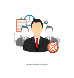 team management flat with icons vector image vector image