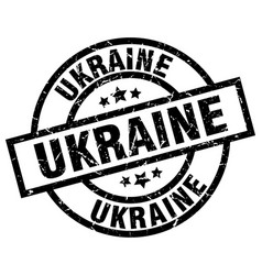 Ukraine black round grunge stamp vector