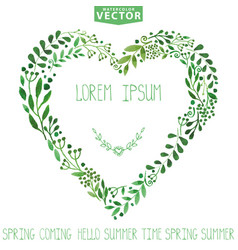 Watercolor green branches heart wreathbackgroun vector