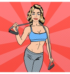 Woman with Sport Equipment Fitness Girl Pop Art vector image