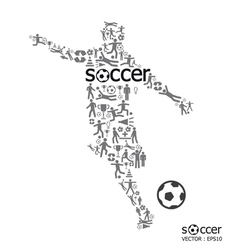 active soccer player shape with ICON soccer Sport vector image