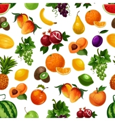 pattern of fresh fruits with leaves vector image
