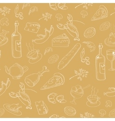 Collection of hand-drawn food seamless pattern vector