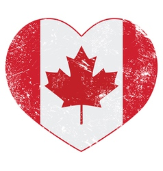 Canada heart retro flag vector