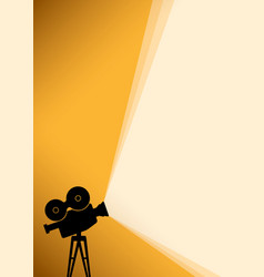 silhouette of cinema camera on yellow banner vector image