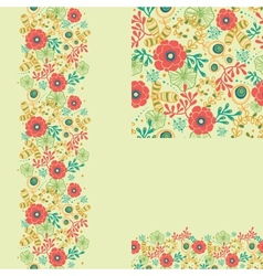 Set of spring flowers seamless pattern and borders vector image