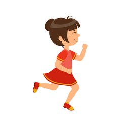 Happy little girl running kid in a motion a vector