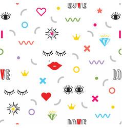 Colorful modern retro feminine fun icons pattern vector