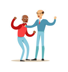 Two mature men characters fighting and quarelling vector