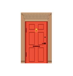 Red front door to house closed elegant door vector