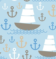Light blue seamless background boat with white vector