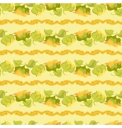 Sunflower border seamless pattern on light yellow vector