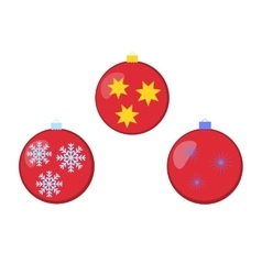 Different colored christmas balls with ornaments vector