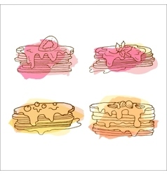 Pancake  set of 4 hand drawn vector