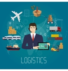 Logistics manager agent concept delivery vector
