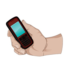 Hand holding a cell phone vector