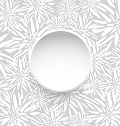 White Circle with Floral Pattern vector image