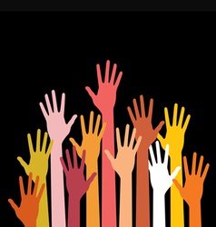 Raised hands on black background vector