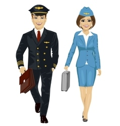 Handsome man and air hostess walking vector