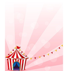 A red circus tent with banners vector image