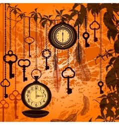 Autumn vintage background with clocks feathers and vector image