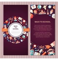 Back to school flat design icons postcard template vector image vector image
