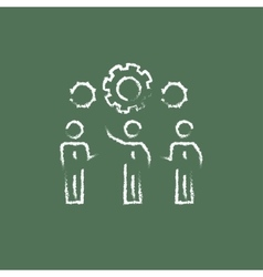 Businessmen under the gears icon drawn in chalk vector image vector image