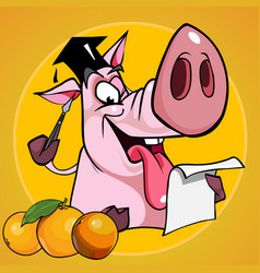Cartoon funny pig in the cap student vector