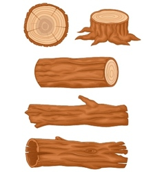 Cartoon wooden log collection vector