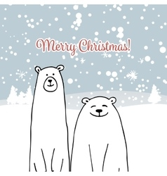 Christmas card with white bears vector