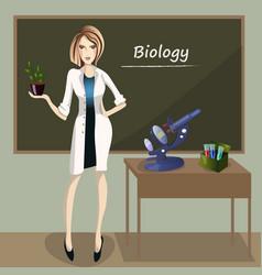 female teacher in front of blackboard vector image