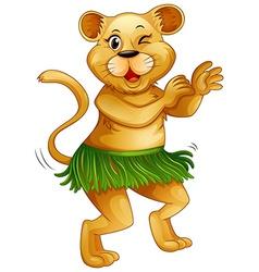 Happy lion dancing alone vector