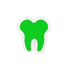 Icon sticker realistic design on paper tooth vector
