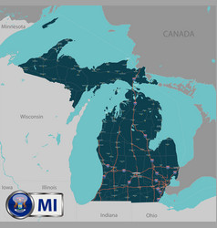 map of state michigan usa vector image vector image