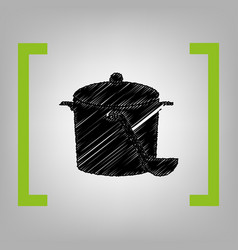 pan with steam sign black scribble icon vector image