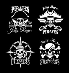 pirate skull and jolly roger flag icon set design vector image vector image