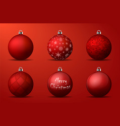 Red christmas balls with silver holders set of vector