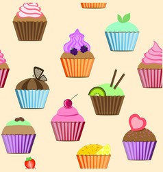 seamless patterns cupcakes set vector image vector image