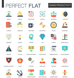Set of flat human productivity time vector