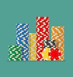 stacks colorful poker chips vector image