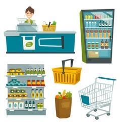 Supermarket object set cartoon vector image vector image
