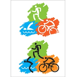 Triathlon grunge icons vector image