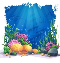 Underwater world with coral reef - vector image
